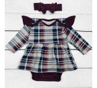 Боді-плаття для дівчинки в клітинку з пов'язкою