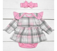 Боди с юбочкой для девочки в клеточку с повязкой Розового цвета