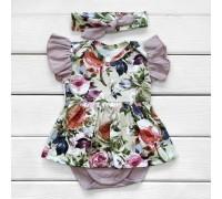 Комплект боді-плаття і пов'язочка Flowers