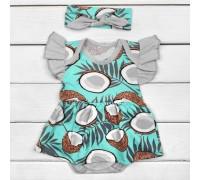 Комплект боди-платье короткий рукав и повязочка Bounty
