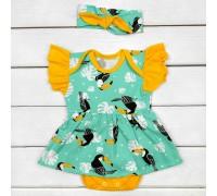 Комплект боди-платье с коротким рукавом и повязочка Туканчики