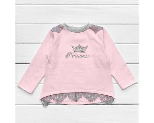 Джемпер из футера для девочки Princess розового цвета