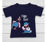 Футболка детская с принтом Птички на стиле Take it easy