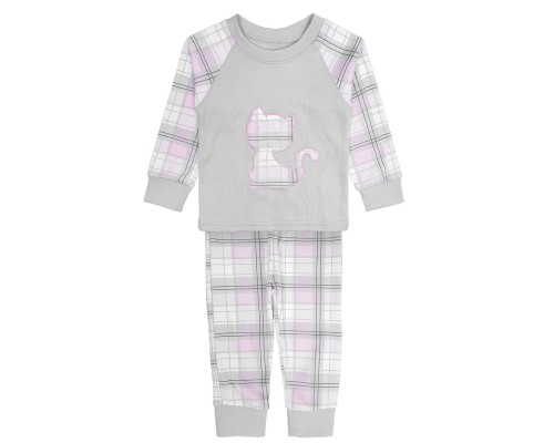 Детская пижама для девочек серо-розовая Kitten