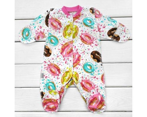 Человечек для новорожденной с ярким принтом Пончики