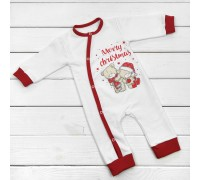 Чоловічок для малюків білого кольору Новорічні Ведмедики