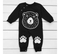Чорний чоловічок для малюків з принтом Медвежа