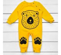 Жовтий чоловічок для малюків з принтом Медвежа