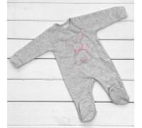 Человечек для малышей Зайчик серого цвета с розовой вышивкой