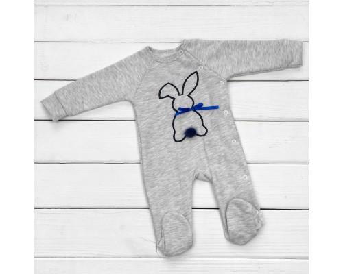 Человечек для малышей Зайчик серого цвета с синей вышивкой