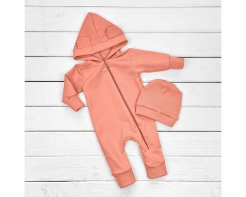Детский Комбинезон+Шапочка двунить персикового цвета