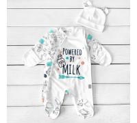 Набор младенца человечек с шапочкой Powered by milk