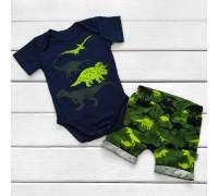 Комплект для хлопчика Динозаври на синьому