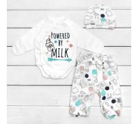 Боді з повзунками і шапочкою Powered by Milk