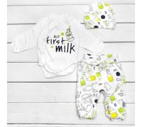 Боді з повзунками і шапочкою But First Milk