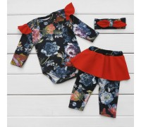Ясельный комплект боди штанишки повязка Lady с красной отделкой