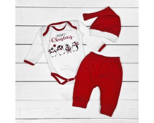 Комплект для новорожденных новогодний из трех предметов Merry Christmas с пингвинами