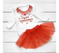 Новогодний комплект для девочки с красной фатиновой юбкой My first Christmas