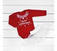 Новогодний комплект для девочки с фатиновой юбкой My first Christmas