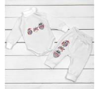 Комплект для дитини боді та штани від трьох місяців Совенята молочний