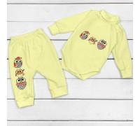 Набор для ребенка от трех месяцев Совушки желтого цвета