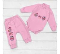 Набір рожевого кольору для дитини боді та штани від трьох місяців Совенятка