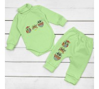 Набор для ребенка от трех месяцев Совушки салатного цвета