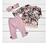 Ясельный комплект кофточка штанишки повязка Romantic