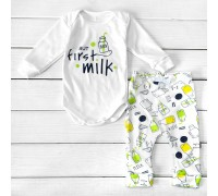 Детский костюм боди со штанами But First Milk