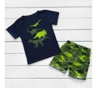 Комплект для мальчика Динозавры на синем
