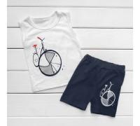 Літній костюм для хлопчика Велосипед з синіми шортиками