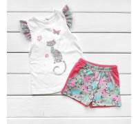 Комплект для дівчинки шорти і футболка з малюнком CAT