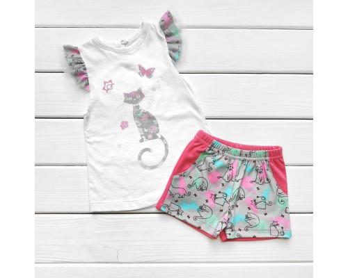 Комплект для девочки шорты и футболка с рисунком CAT