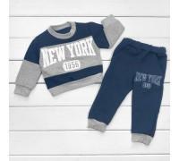 Дитячий щільний синій костюм для хлопчика New York (Футер)