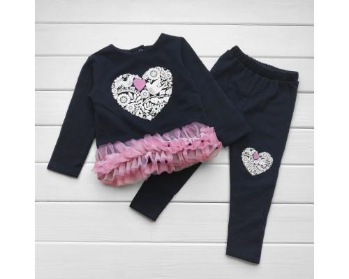 Детский костюм с фатином Heart для девочки темно-синего цвета