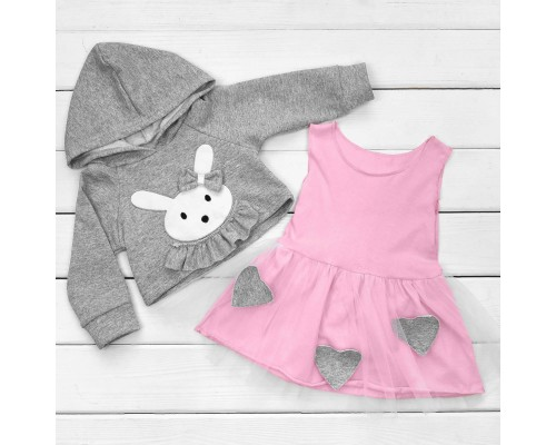 Детский костюм Зайка в серо-розовом цвете