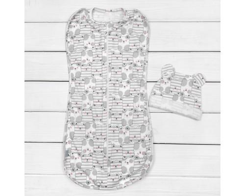 Набор для сна малыша пеленка кокон с шапочкой Муркотуны