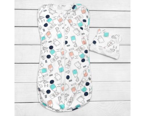 Набор для сна малыша пеленка кокон с шапочкой Milk