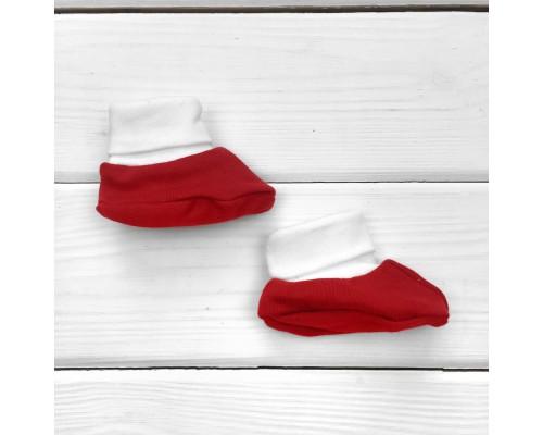 Новогодние пинетки красно-белого цвета