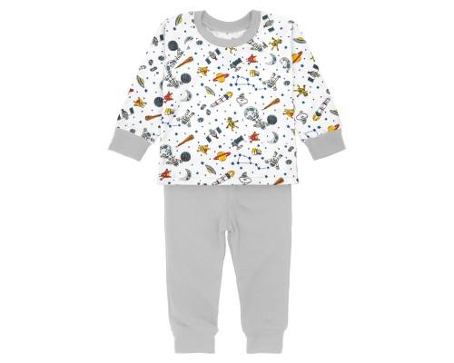 Детская пижама для мальчика Космос с серыми штанишками