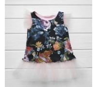 Туника-платье с фатином Цветочки