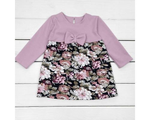 Детское нарядное платье Цветок серо-розового цвета