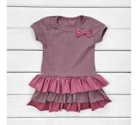 Детское платье с коротким рукавом и пышной юбочкой Пшено