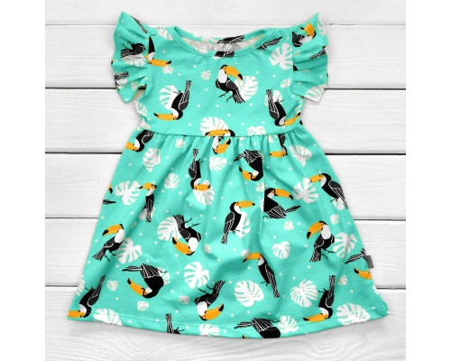 Детское платье с тропическими птицами