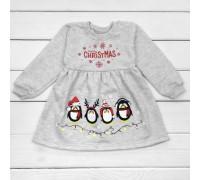 Новогоднее платье с начесом Пингвинчики