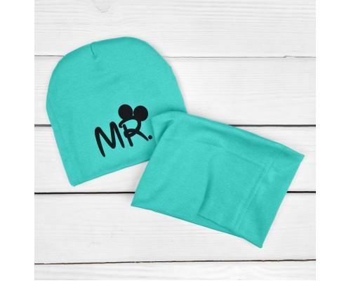 Двойная шапочка для ребенка с хомутом однотонная с принтом MR