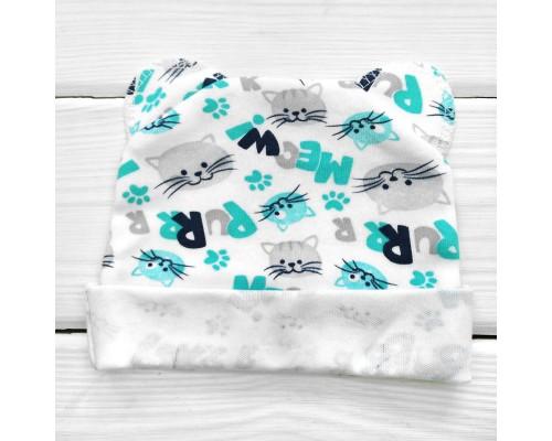 Шапочка для новонароджених з вушками MEOW