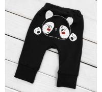 Штаны для ребенка однотонные с принтом сзади Panda с начосом