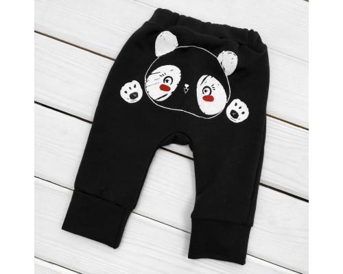 Штани для дитини однотонні з принтом ззаду Panda з начосом